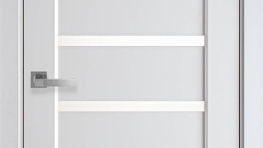 Двері Лінея ПВХ Premium Білий Матовий скло сатин
