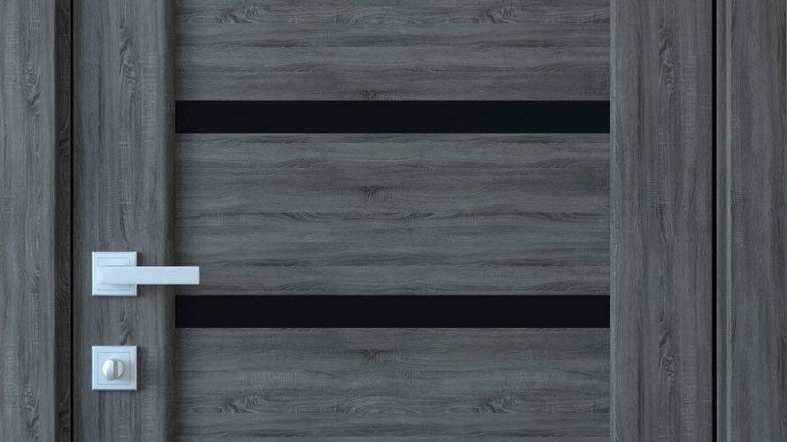 Двері Лінея ПВХ DeLuxe Grey new чорне скло