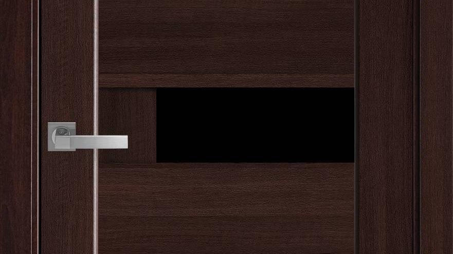 Двері Піана-blk ПВХ DeLuxe Каштан скло чорне