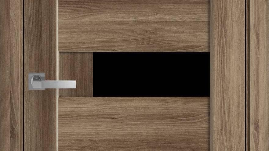 Двері Піана-blk ПВХ DeLuxe Дуб Золотий скло чорне