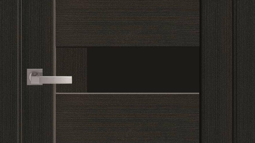Двері Піана-blk ПВХ DeLuxe Венге new скло чорне
