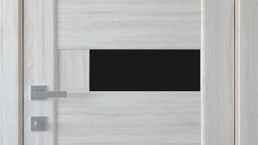 Двері Піана-blk ПВХ DeLuxe Ясень new скло чорне