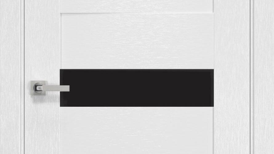 Двері Вена шовк х-білий  чорне скло