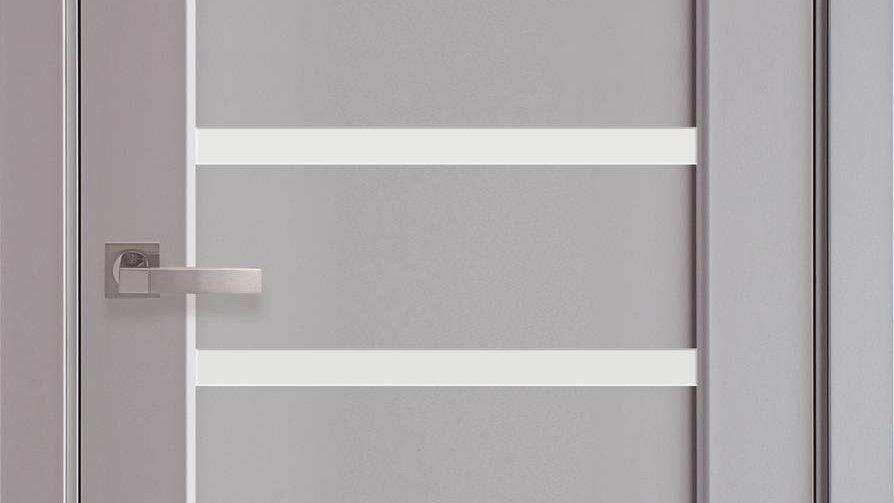 Двері Лінея ПВХ Premium Сіра Пастель скло сатин