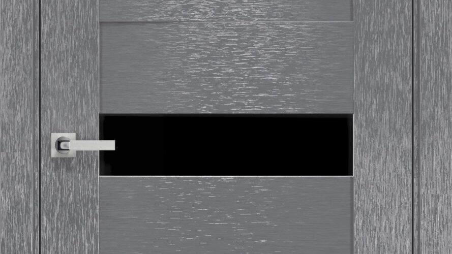 Двері Вена шовк х-сірий  чорне скло