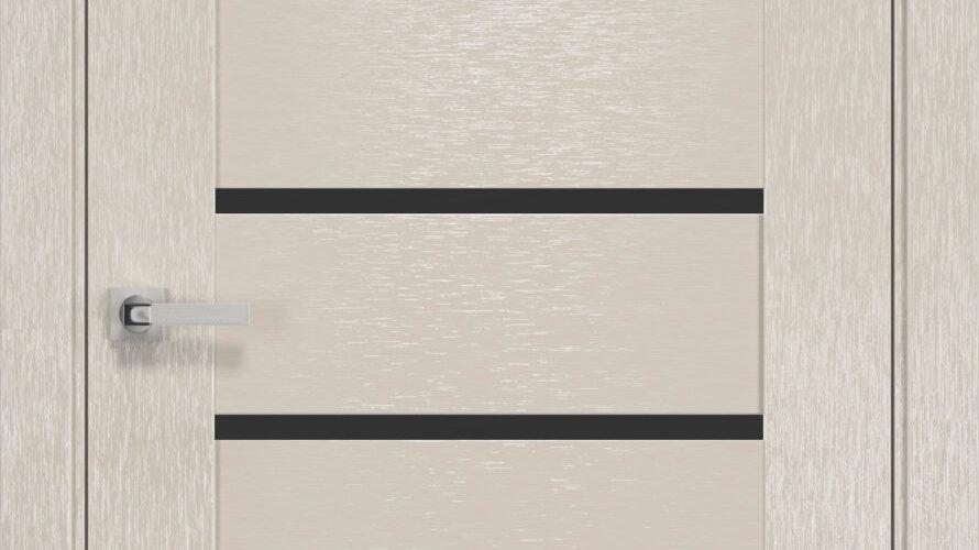 Двері Парма шовк х-беж чорне скло