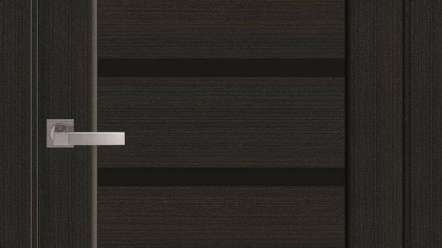 Двері Лінея ПВХ DeLuxe Венге new чорне скло