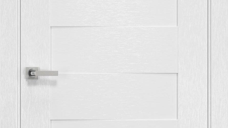 Двері Женева шовк х-білий чорне скло