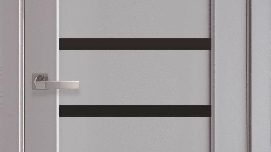 Двері Лінея PremiumСіра Пастель чорне скло