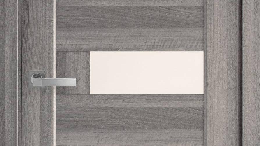 Двері Піана-G ПВХ DeLuxe Бук Пепелястий скло сатін