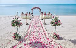 Beach wedding venue setting on the white