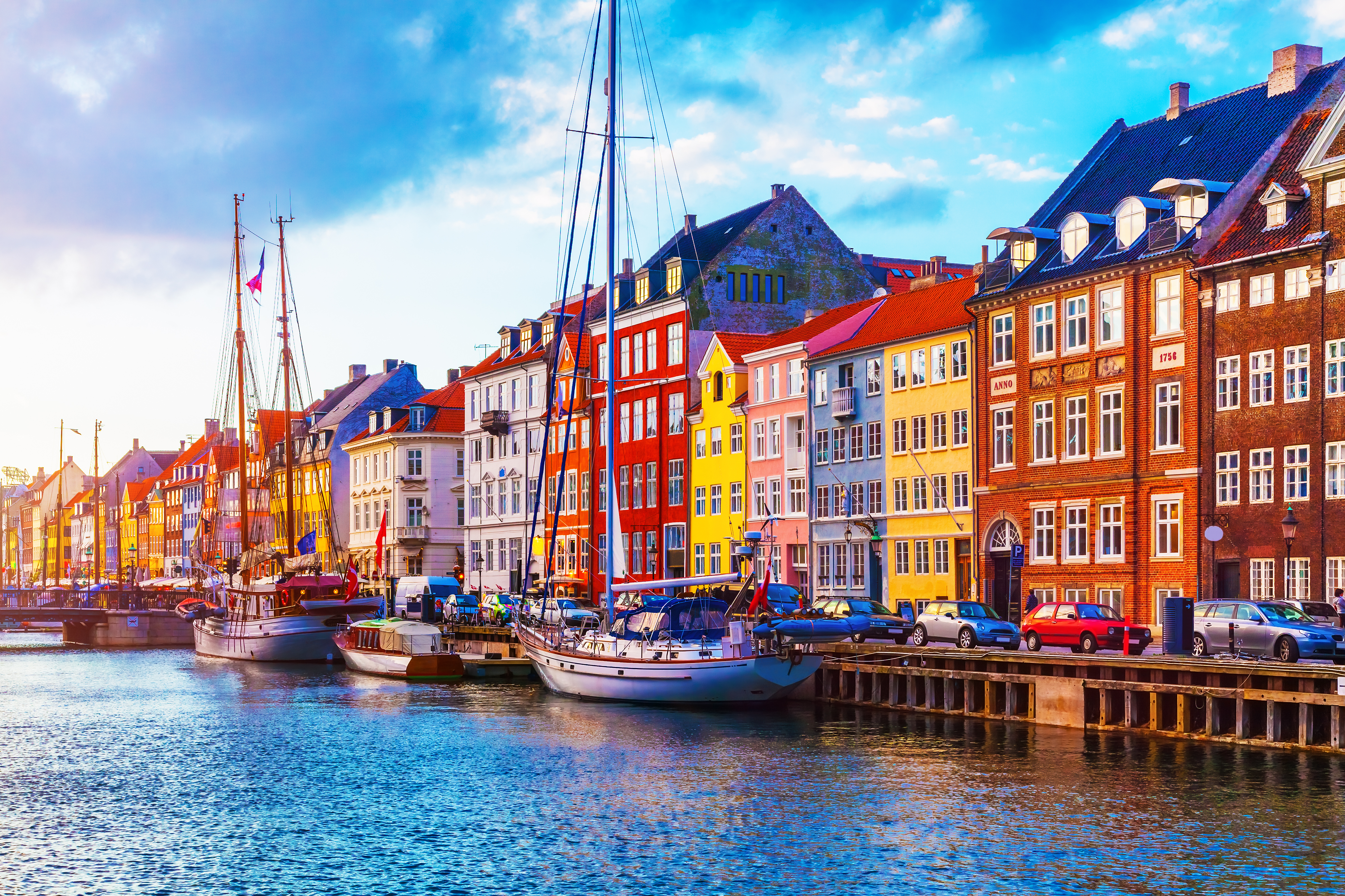 Scenic summer sunset view of Nyhavn pier