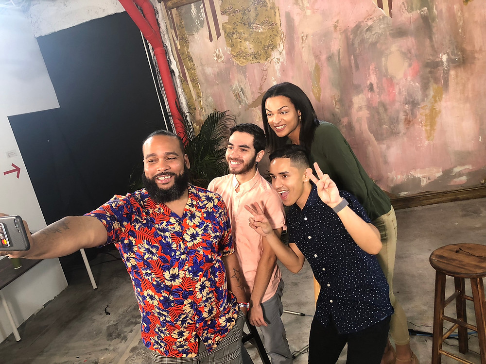 Youth advocates taking a post-interview selfie with Louie Ortiz, of Advocates for Youth