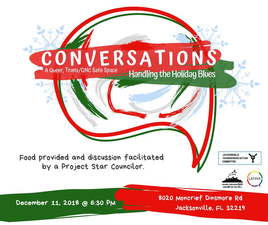 Conversations: A Queer, Trans/GNC Safe Space: Handling the Holiday Blues Banner