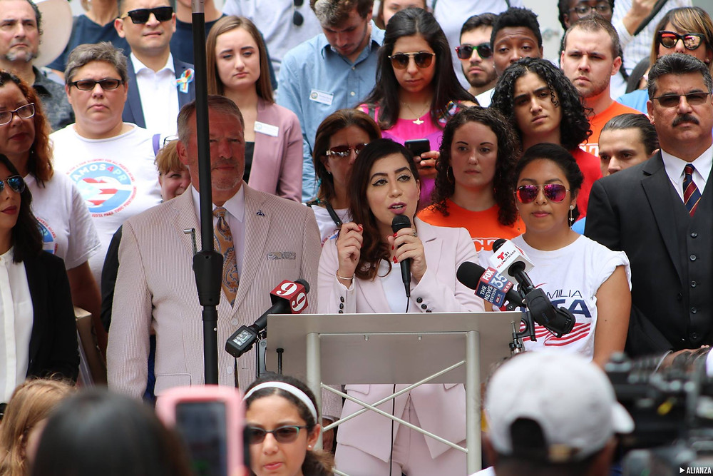 Rasha Mubarak, of the Muslim Women's Organization, speaking during a press conference prior to the passage of the TRUST Act.