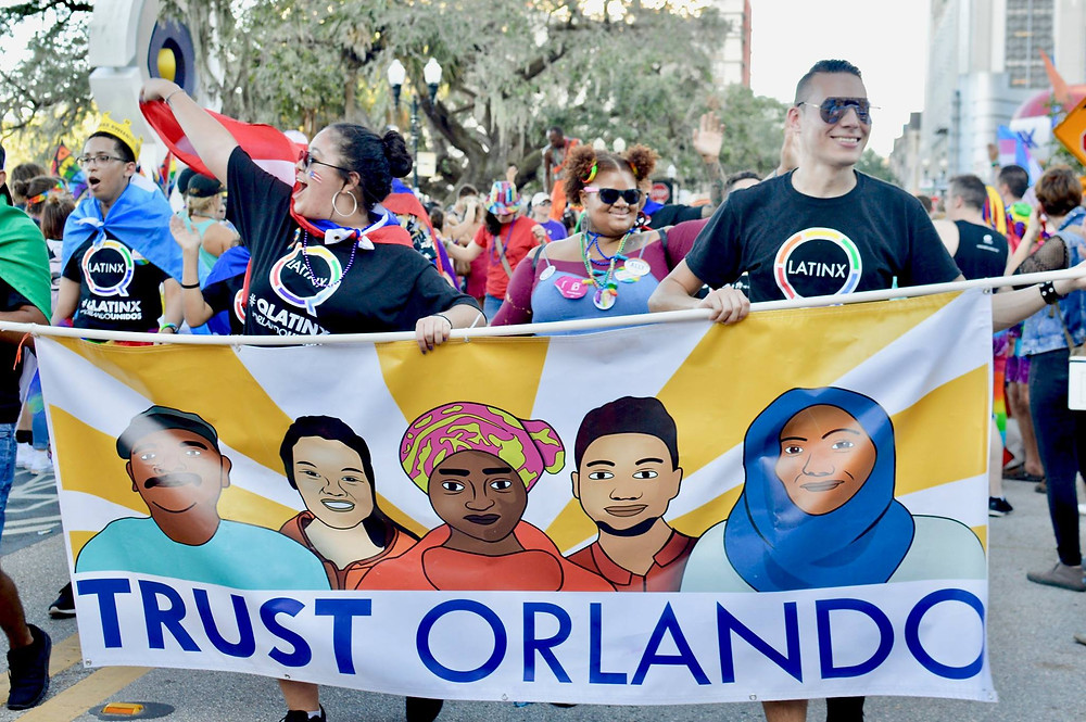 QLatinx members supporting the TRUST Orlando Coalition during Orlando Pride 2017