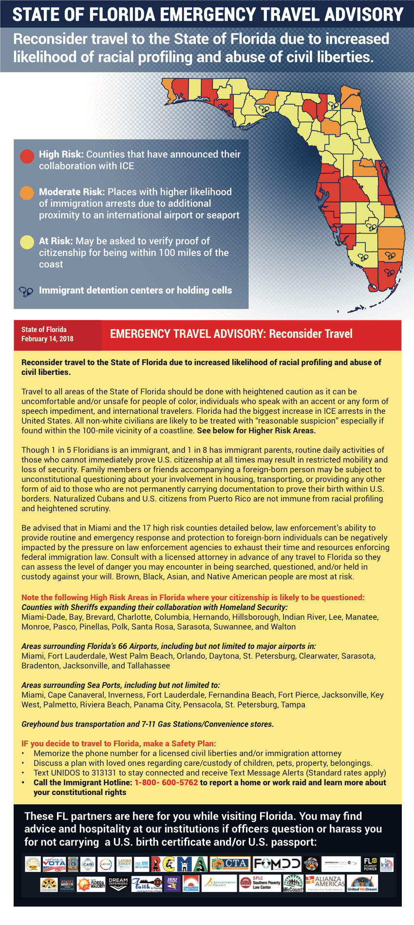 State of Florida Emergency Travel Advisory with high risk, moderate risk, and at risk counties.