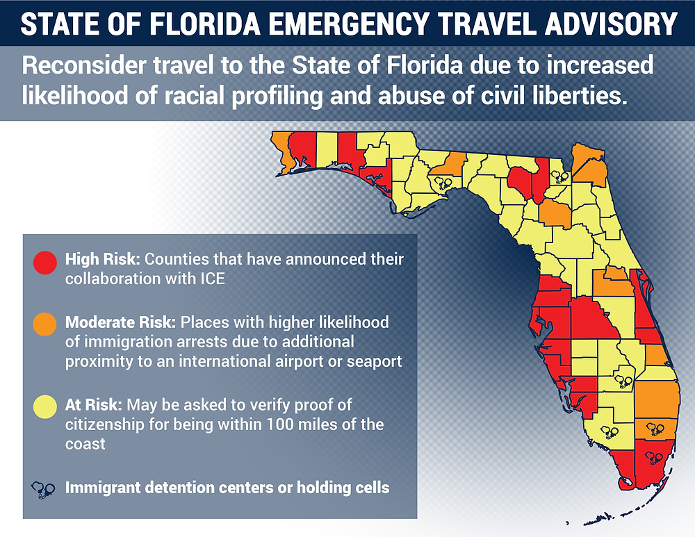 State of Florida Emergency Travel Advisory Map