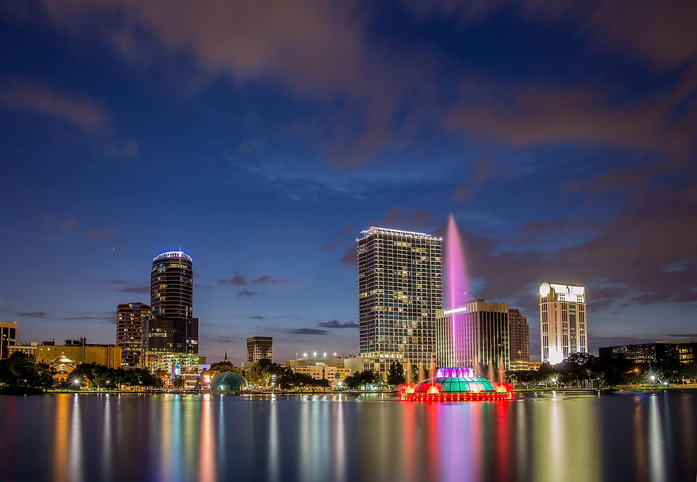Photo of the fountain at Lake Eola Park in Downtown Orlando.