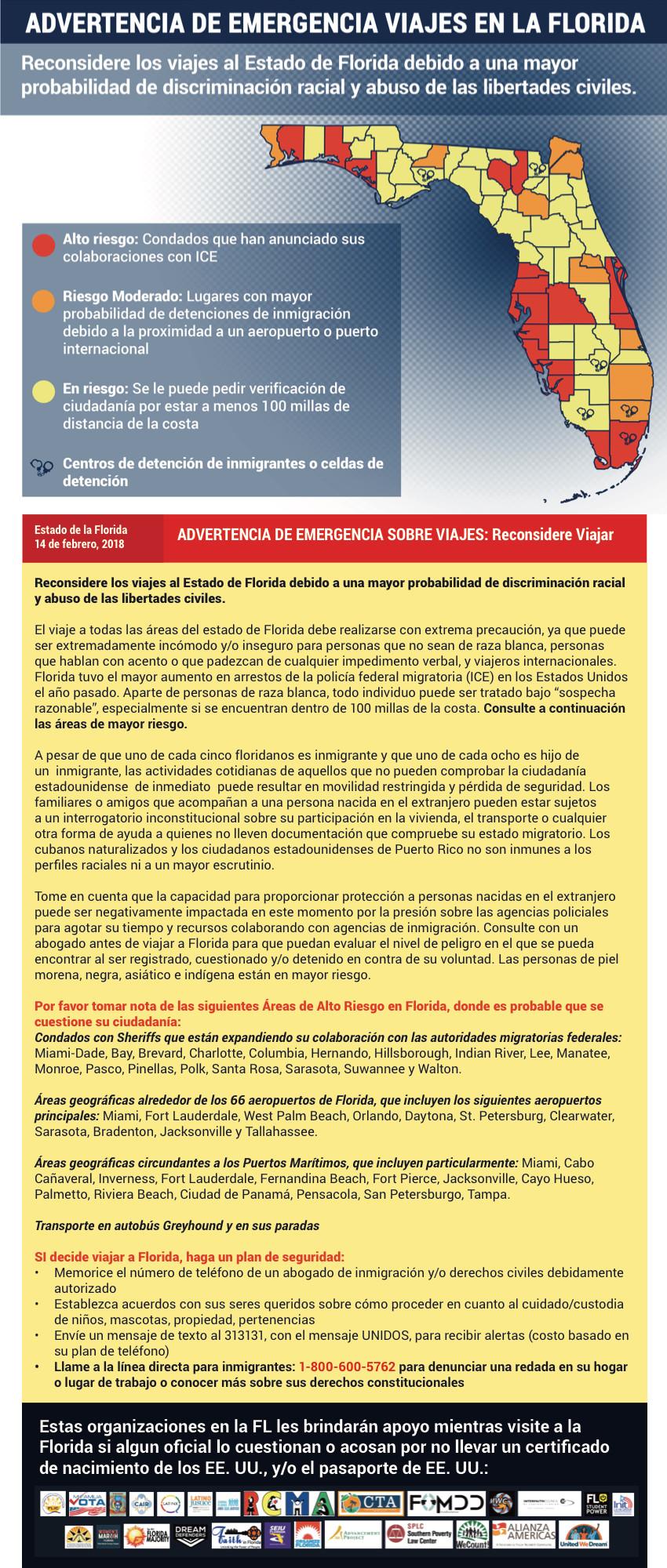 Advertencia de Emergencia Viajes en la Florida con condados de alto riesgo, riesgo moderado y en riesgo.