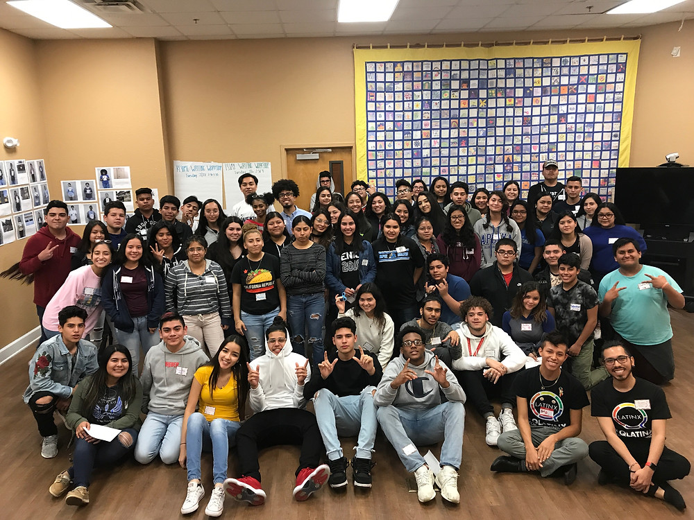 HCC's youth leaders posing with QLatinx volunteers following the afternoon's workshop.