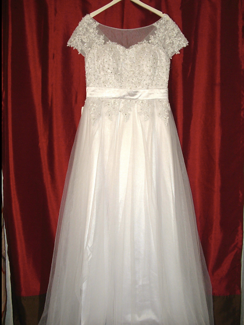 NEW Size 12 White Illusion Lace Ballgown