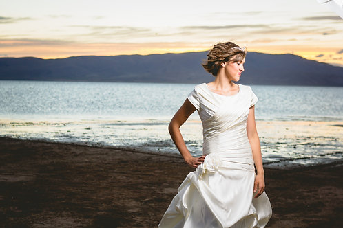 Size 8 Ivory Duchesse Satin Trumpet Princess Gown