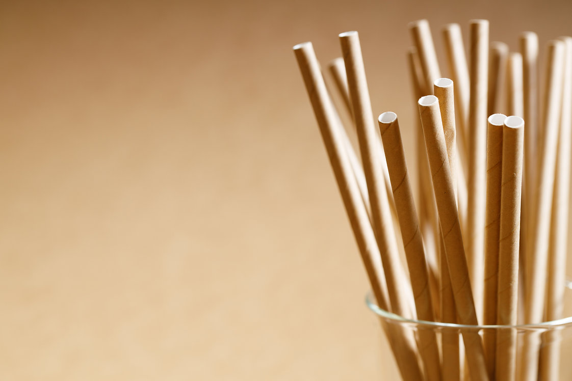 Brown paper straws in glass, Sustainable