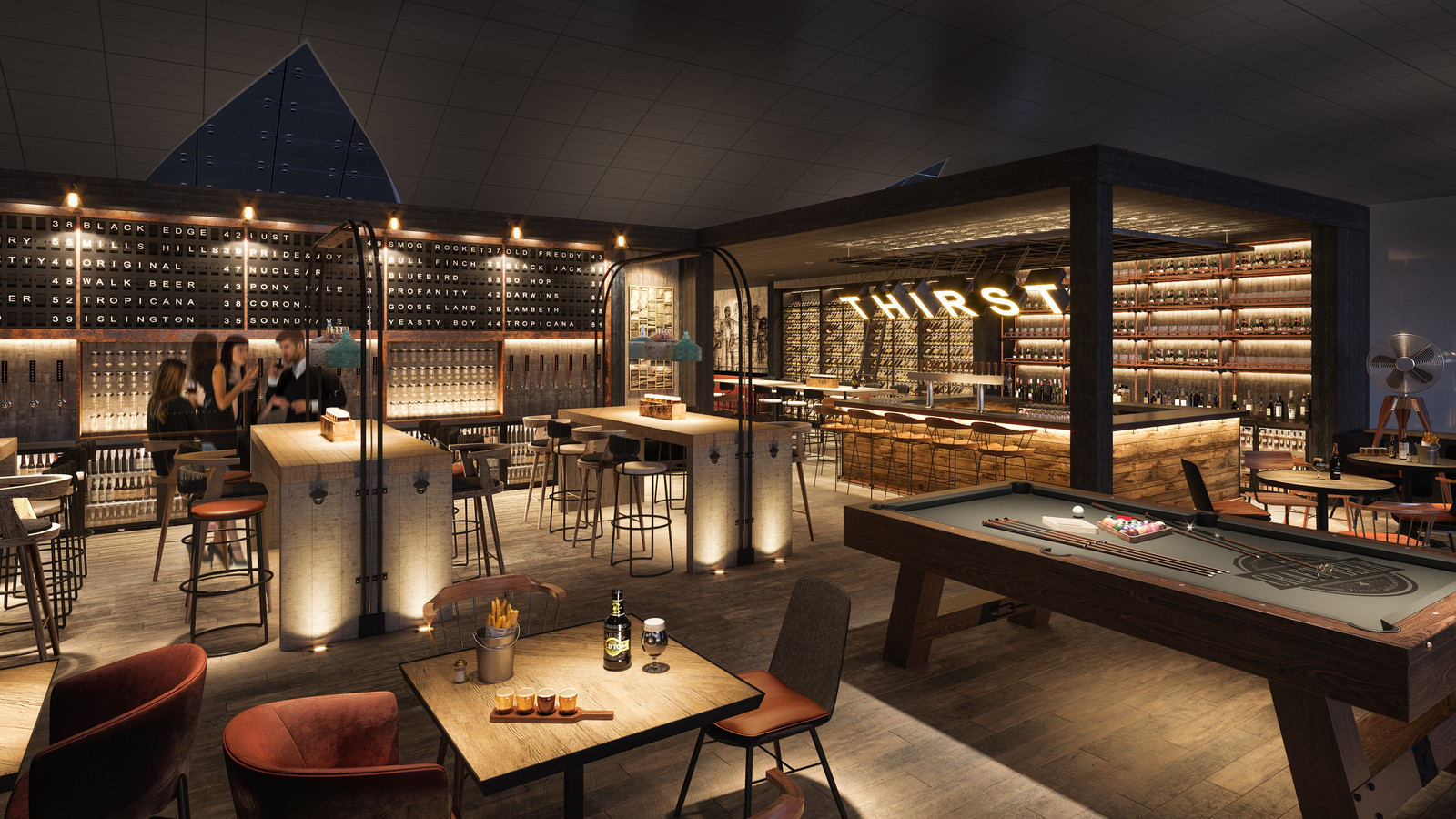 Superior Airport Craft Beer Bar | Architectural And Interior Design CGIs | UK |  Framed Visualisation