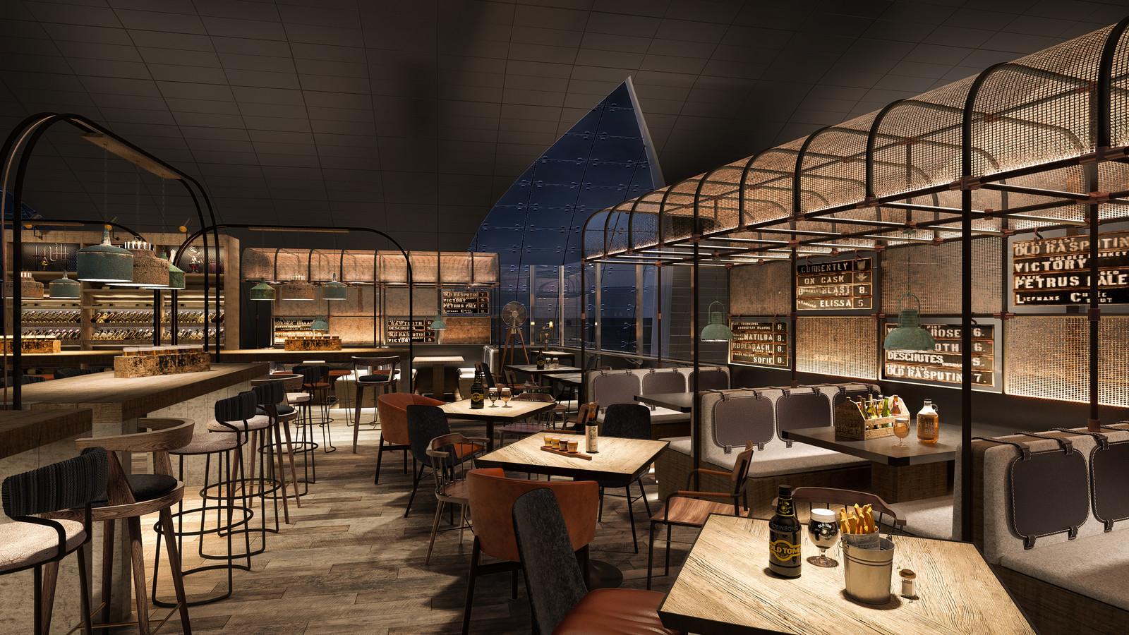 Airport Craft Beer Bar | Architectural And Interior Design CGIs | UK |  Framed Visualisation