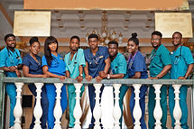 Group of african medical students in col
