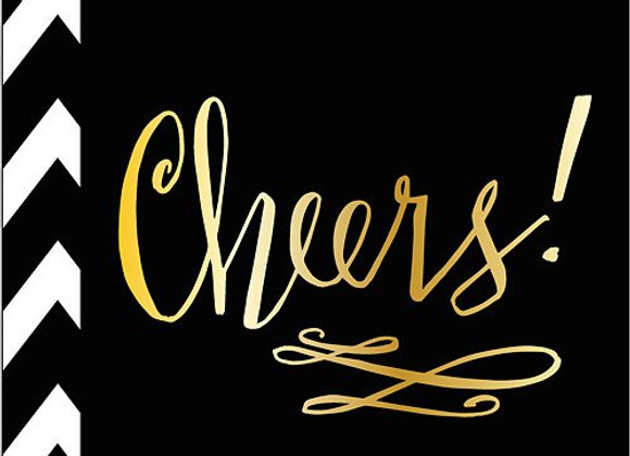 """Cheers"" Black and Gold Lunch Napkins 8ct"