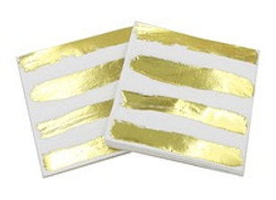 Gold Striped White Lunch Napkins 8ct