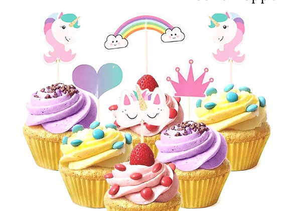 Unicorn Cupcake Toppers- 24pcs