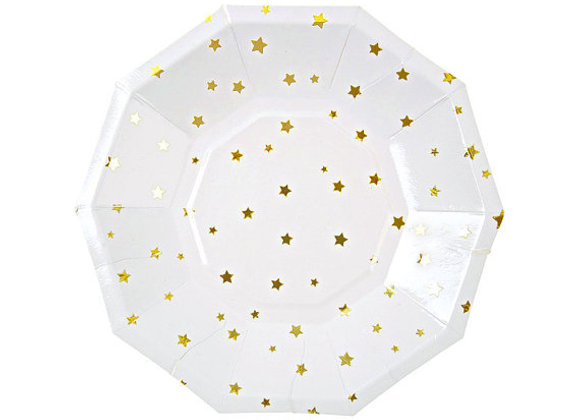 Gold Foil Star Plates -8pcs