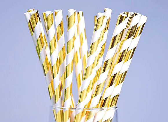 Gold and White Striped Paper Straws 24ct