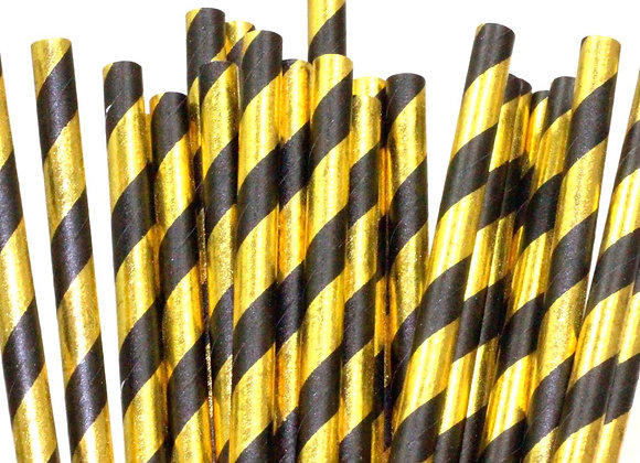 Black and Gold Striped Paper Straws 24ct