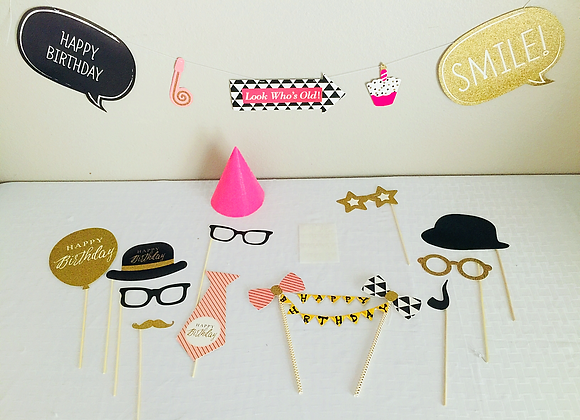 Happy Birthday Mini Smart Party -Banner, Photo Props, Cake Topper, Hat