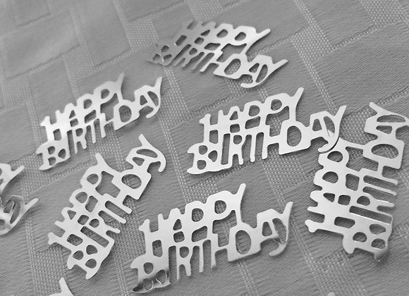 Happy Birthday Table Confetti -Silver