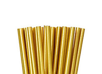 Metallic Gold Paper Straws 24ct