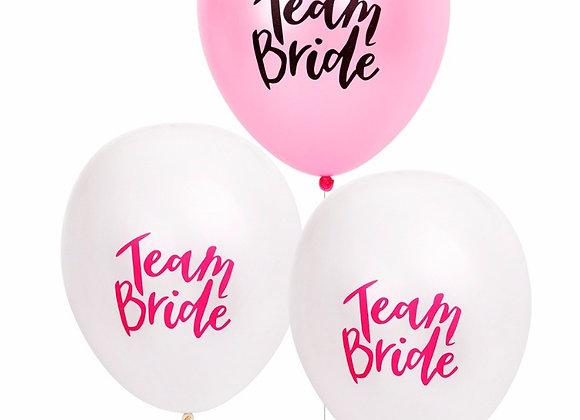 Team Bride Latex Balloons - White Pnk 5pc: