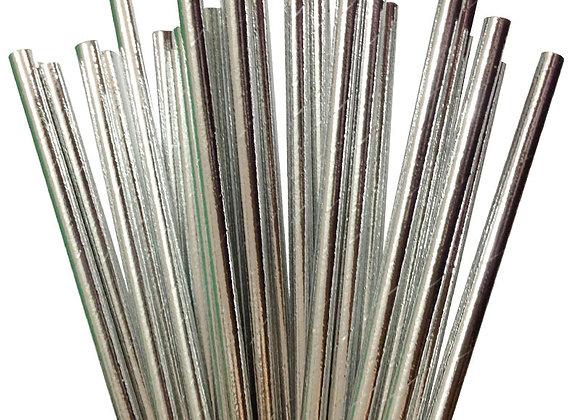 Metallic Silver Paper Straws 24ct