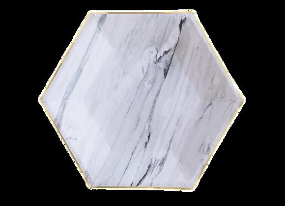 Marble Hexagon Paper Dessert Plates