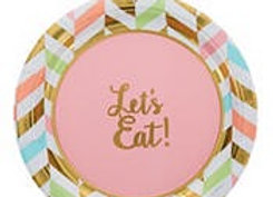 Pastel & Gold Herringbone Dessert Plates 8ct