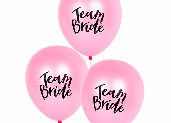 Team Bride Latex Balloons - Pink blk 5pc