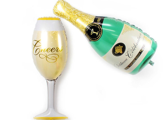 Champagne Bottle and Glass Foil Mylar Balloon 2pc