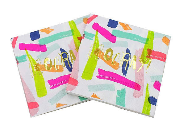 """""""Hooray"""" Hot Pink Blue Gold Lunch Napkins 8ct"""