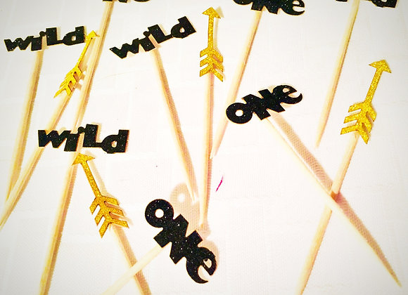 Wild One Gold Arrow Cupcake Toppers 24pc blk