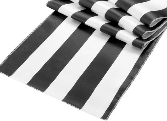 Stripe Satin Table Runner - Black & White