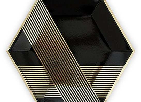Black and Gold Diamond Dinner Paper Plates